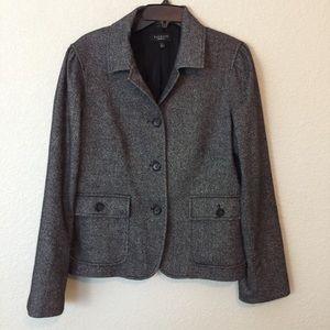 EUC Talbots Wool Blazer Jacket Charcoal Grey sz 12